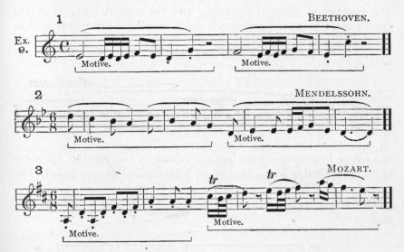 Example 9.  Fragments of Beethoven, Mendelssohn, and Mozart.