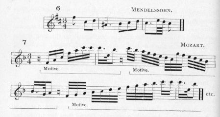 Example 13 continued.  Fragments of Mendelssohn and Mozart.
