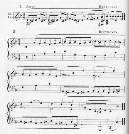 Example 17.  Fragments of Beethoven.