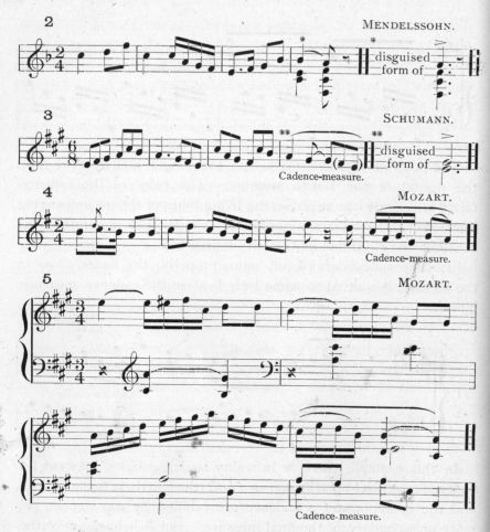 Example 22 continued.  Fragments of Mendelssohn, Schumann, and Mozart.